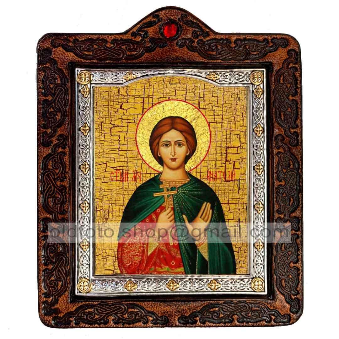 Икона Анатолий Святой Мученик Никейский (на коже 80х100мм)