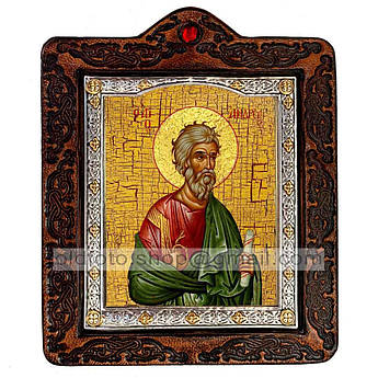 Икона Андрей Святой Апостол Первозванный  ,икона на коже 80х100 мм
