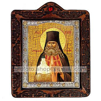 Икона Арсений Святой Преподобный Святогорский  ,икона на коже 80х100 мм