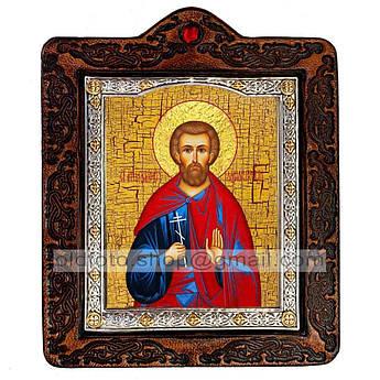Икона Богдан (Феодот) Святой Мученик Адрианопольский  ,икона на коже 80х100 мм