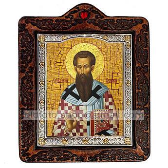 Икона Василий Святитель Великий  ,икона на коже 80х100 мм