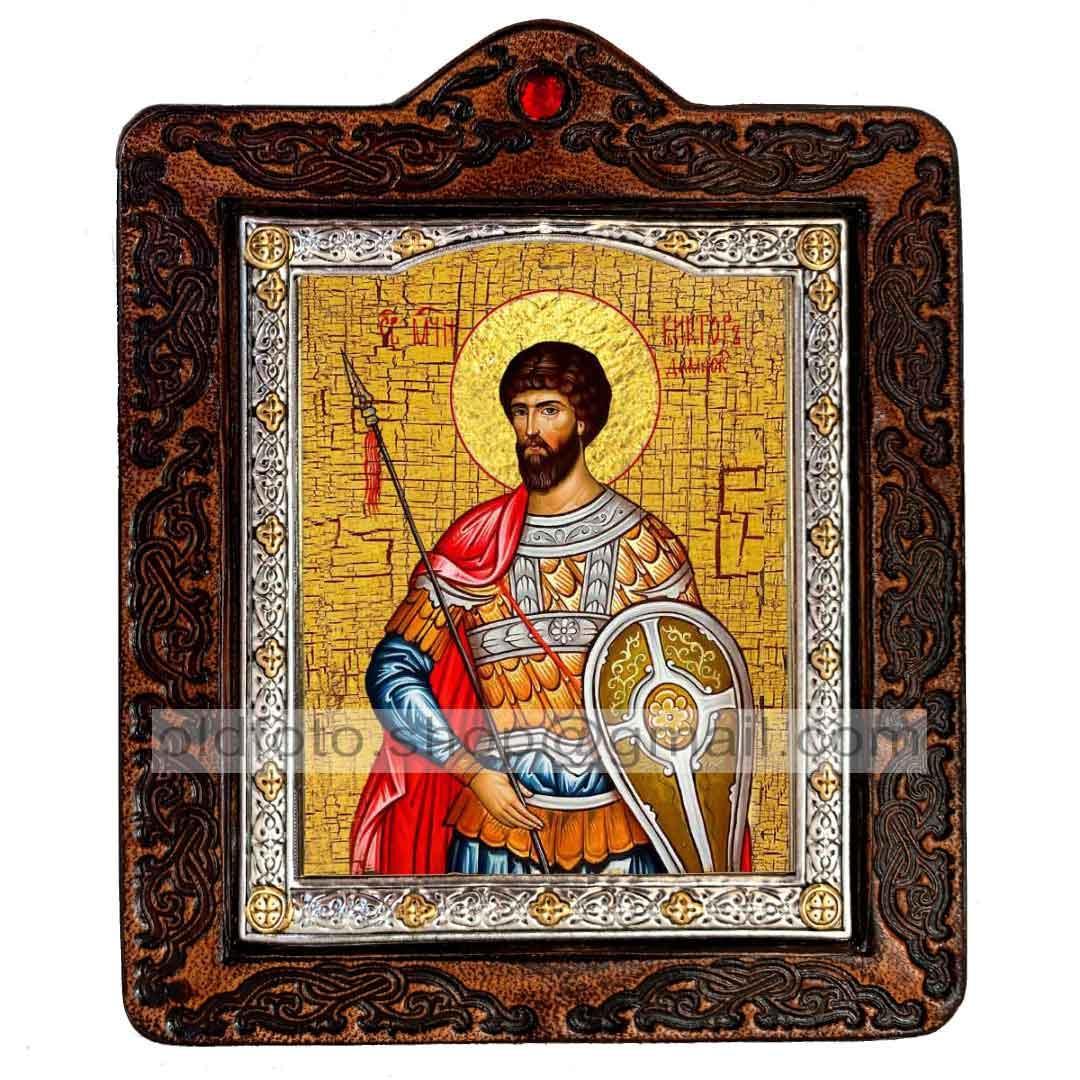 Икона Виктор Святой Мученик Дамасский (на коже 80х100мм)
