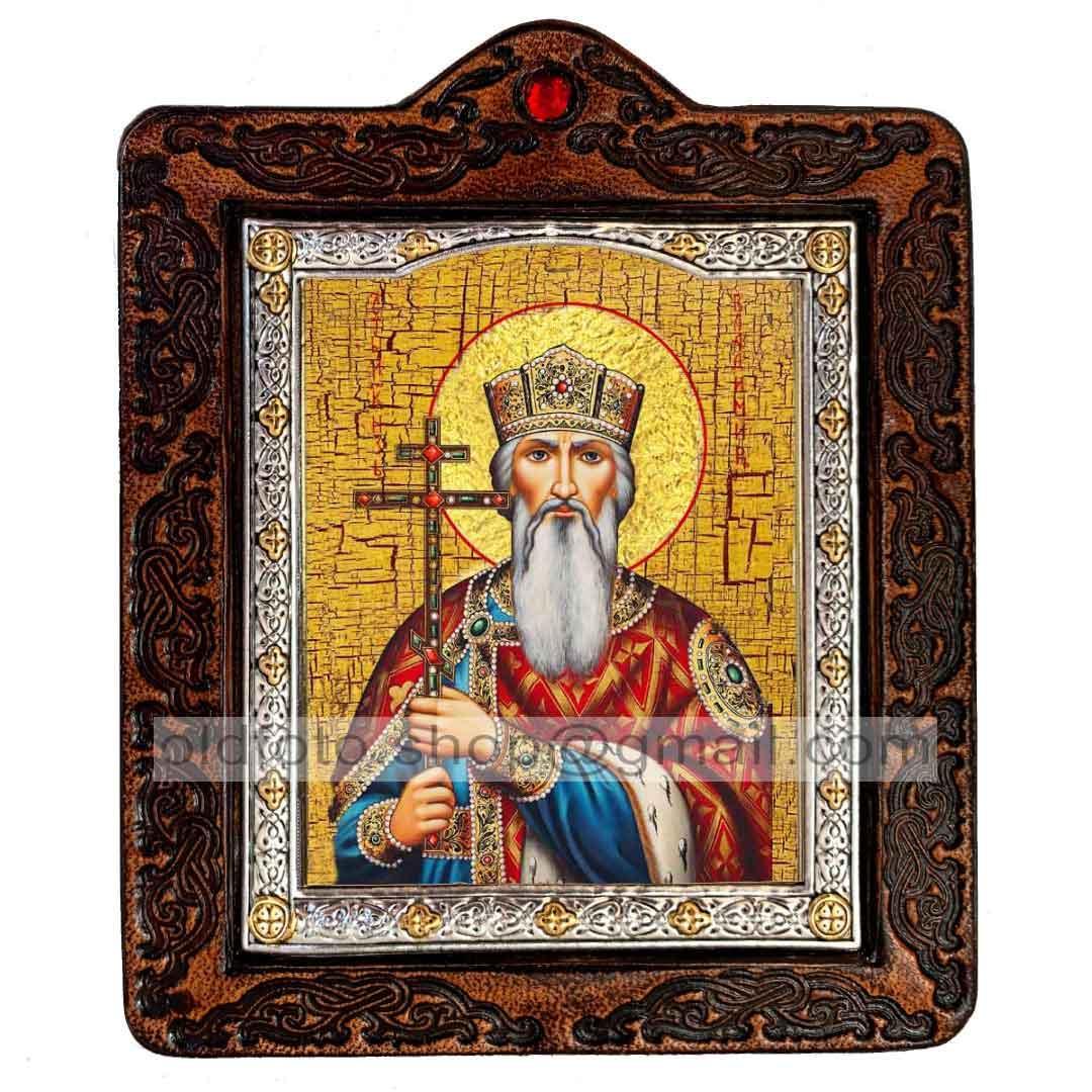 Икона Владимир Святой Равноапостольный Князь (на коже 80х100мм)