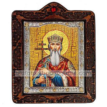 Икона Владимир Святой Равноапостольный Князь  ,икона на коже 80х100 мм