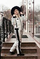 Стильний сереюристый крутий теплий зимовий лижний жіночий синтепоновий стьобаний костюм на овчині. Арт-3414/17, фото 1