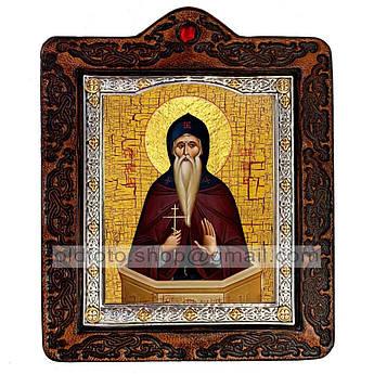 Икона Даниил Святой Столпник  ,икона на коже 80х100 мм