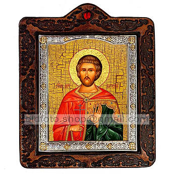 Икона Евгений Севастийский  ,икона на коже 80х100 мм