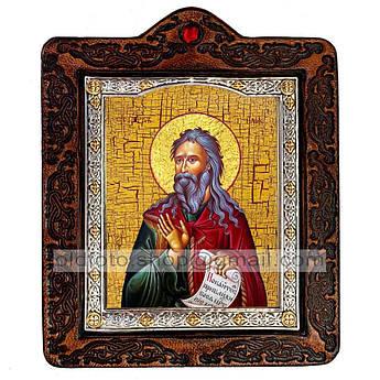 Икона Илия Святой Пророк  ,икона на коже 80х100 мм