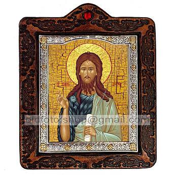 Икона Иоанн Предтеча Пророк и креститель  ,икона на коже 80х100 мм