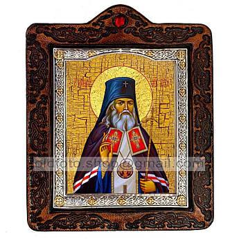 Икона Лука Святитель Крымский  ,икона на коже 80х100 мм