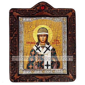 Икона Никита Новгородский  ,икона на коже 80х100 мм