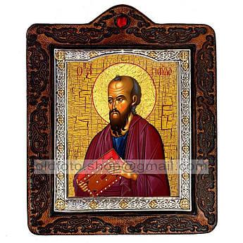 Икона Павел Святой Апостол  ,икона на коже 80х100 мм