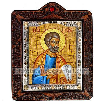 Икона Петр Святой Апостол  ,икона на коже 80х100 мм