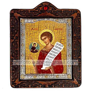 Икона Роман Святой Преподобный Сладкопевец  ,икона на коже 80х100 мм