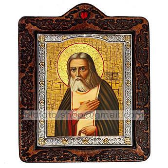Икона Серафим Преподобный Саровский  ,икона на коже 80х100 мм