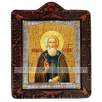 Икона Сергий (Сергей) Святой Радонежский  ,икона на коже 80х100 мм