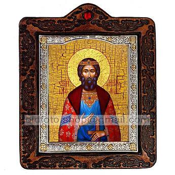 Икона Ярослав Благоверный Князь Мудрый  ,икона на коже 80х100 мм