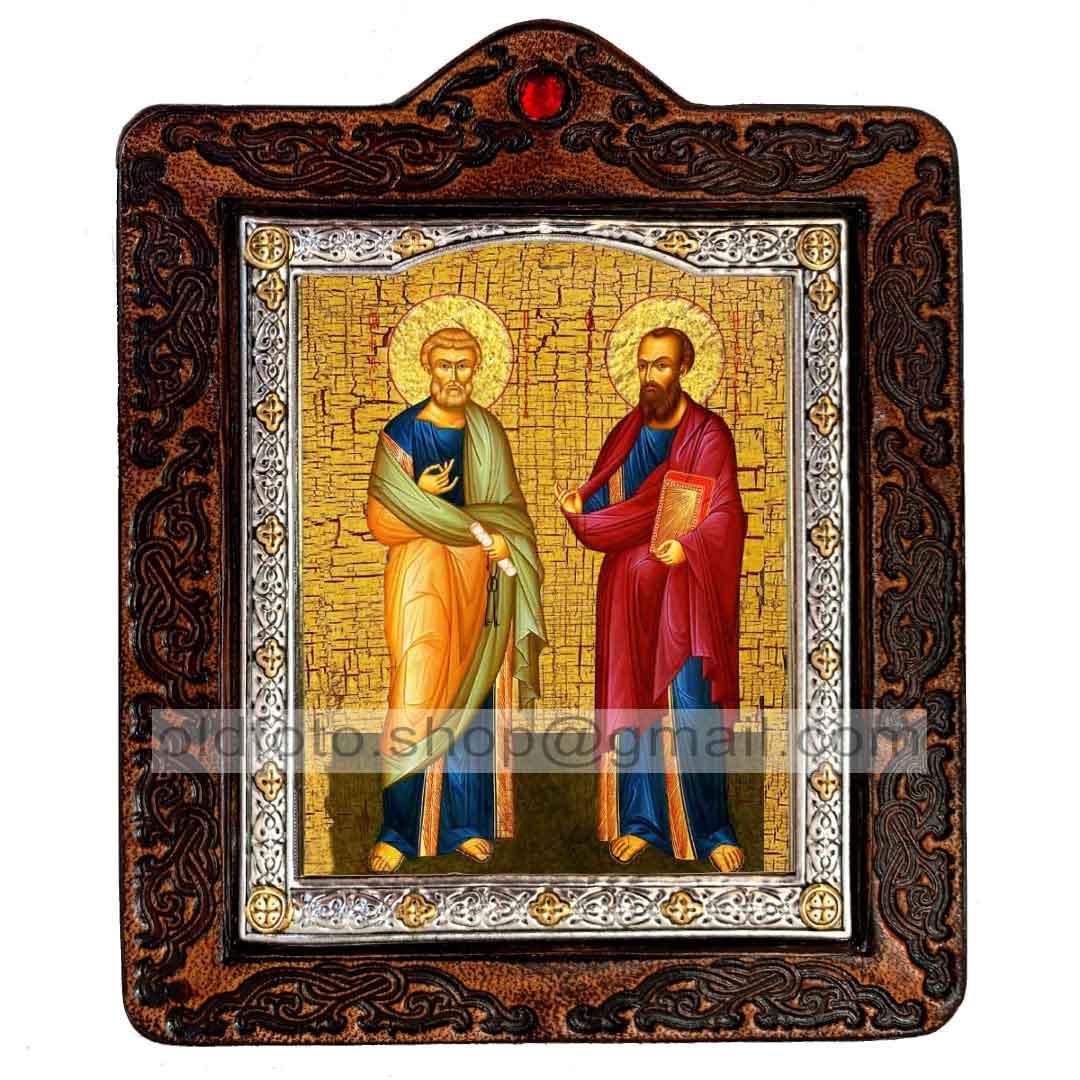 Икона Петр и Павел Святые Апостолы (на коже 80х100мм)
