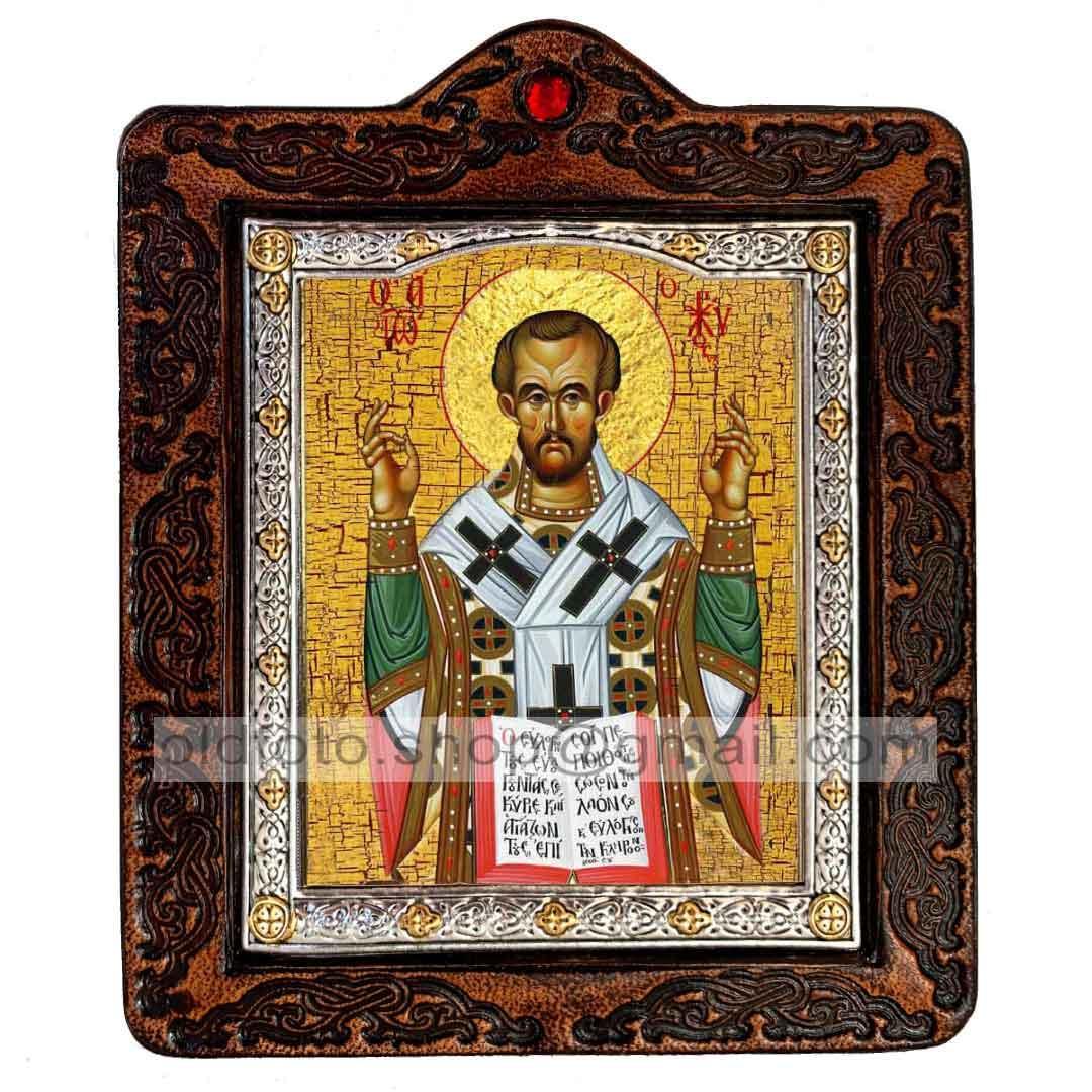 Икона Иоанн Златоуст Святитель (на коже 80х100мм)