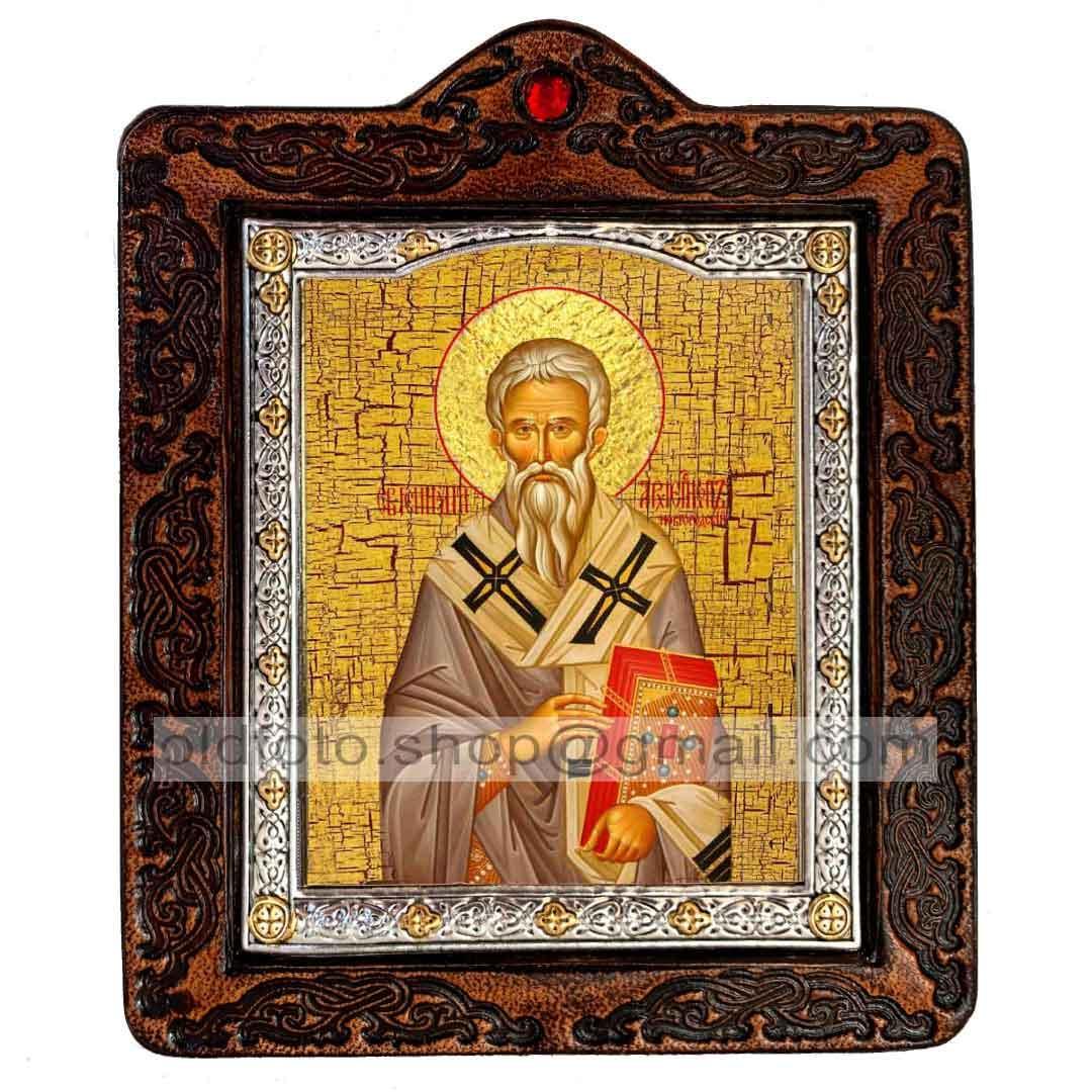 Ікона Святитель Геннадій Новгородський (на шкірі 80х100мм)