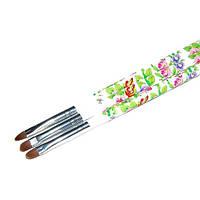 Кисть для геля № 6(белая ручка с цветами, полукруглый ворс)