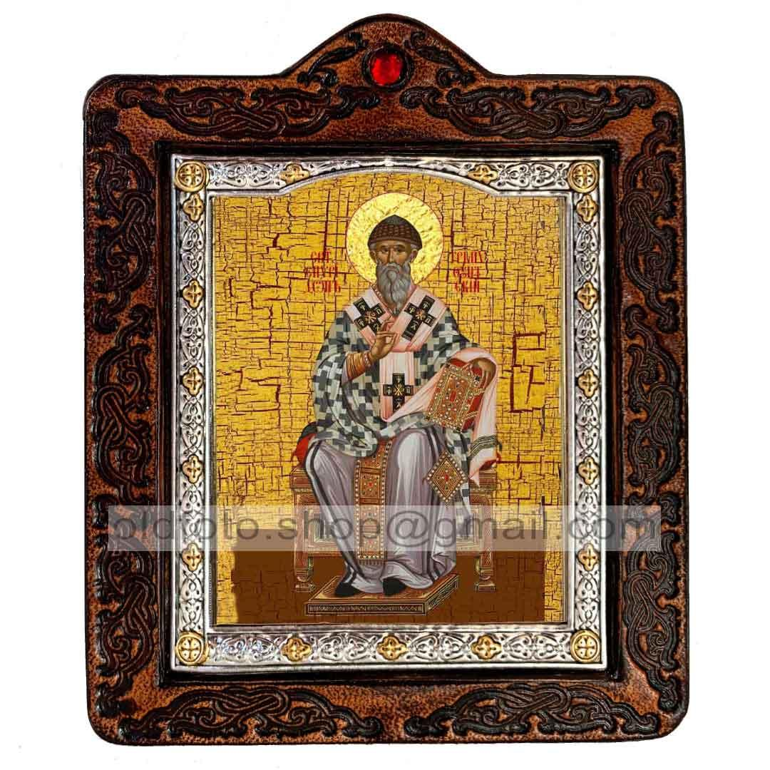 Икона Спиридон Святитель Тримифунтский (на престоле)  ,икона на коже 80х100 мм