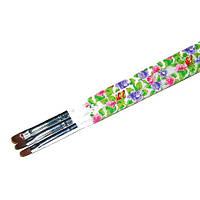 Кисть для геля № 8(белая ручка с цветами, полукруглый ворс)