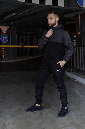 Спортивный костюм Nike мужской Найк серый черный + Барсетка в Подарок, фото 2