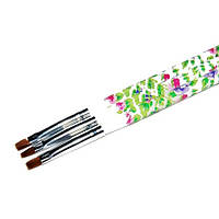 Кисть для геля № 6(белая ручка с цветами, прямой ворс)
