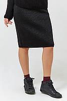 Юбка жеская из мягкой и теплой пряжи вязаная миди с люрексом демисезонная Janessa разные цвета 42-44, 46-48
