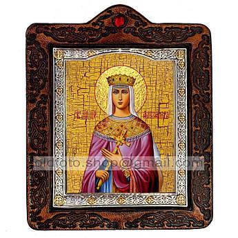 Икона Александра Святая Страстотерпица Романова  ,икона на коже 80х100 мм