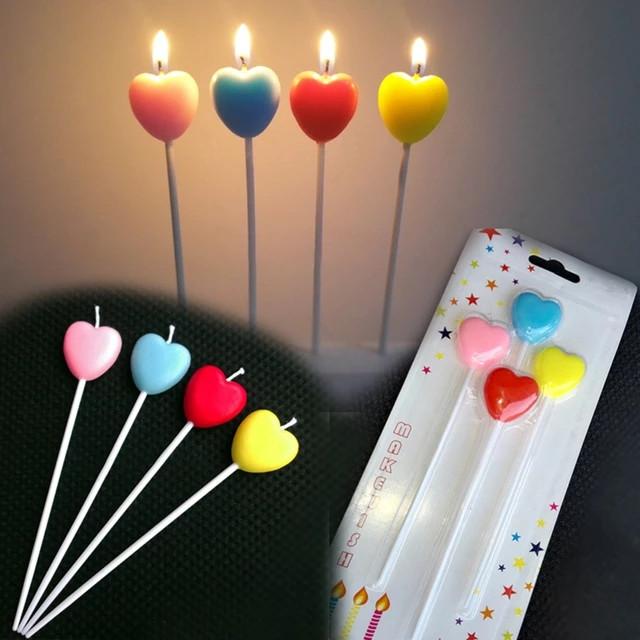 Свечи для торта   Разноцветные сердечки , 4 штуки