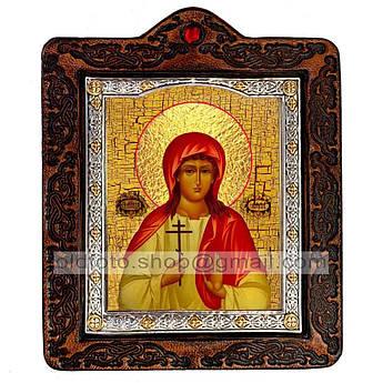 Икона Алла Святая Мученица Готфская  ,икона на коже 80х100 мм