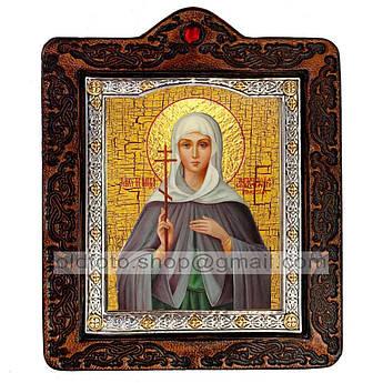 Икона Анастасия Великомученица Узорешительница  ,икона на коже 80х100 мм