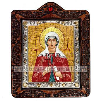 Икона Валентина Святая Мученица Кесарийская  ,икона на коже 80х100 мм