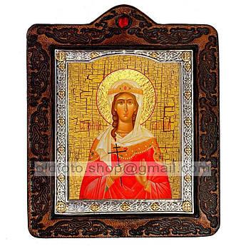 Икона Варвара Святая Великомученица   ,икона на коже 80х100 мм