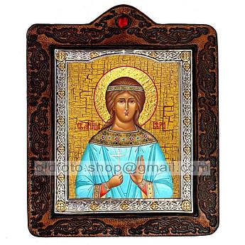 Икона Вера Святая Мученица  ,икона на коже 80х100 мм