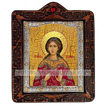 Икона Вероника (Виринея) Святая Мученица Едесская   ,икона на коже 80х100 мм