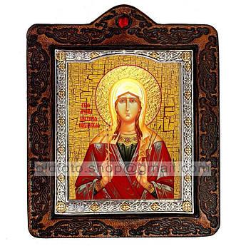 Икона Виктория (Ника) Святая Мученица Коринфская  ,икона на коже 80х100 мм