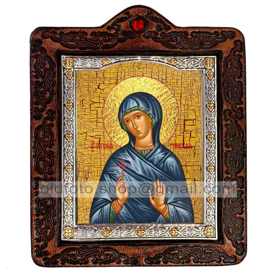 Икона Евгения Преподобномученица Римская  ,икона на коже 80х100 мм