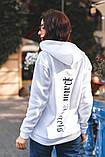 Жіночий теплий худі кофта з капюшоном трехнить на флісі розмір 42-48, фото 3