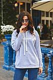 Жіночий теплий худі кофта з капюшоном трехнить на флісі розмір 42-48, фото 6