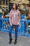 Жіночий теплий худі кофта з капюшоном трехнить на флісі розмір 42-48, фото 9