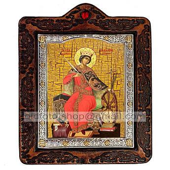 Икона Екатерина Святая Великомученица Александрийская  ,икона на коже 80х100 мм