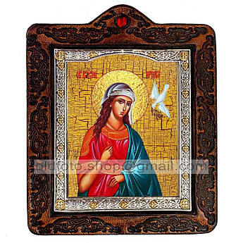 Икона Ирина Святая Великомученица  ,икона на коже 80х100 мм