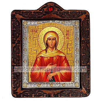 Икона Ксения Святая Блаженная Петербургская  ,икона на коже 80х100 мм