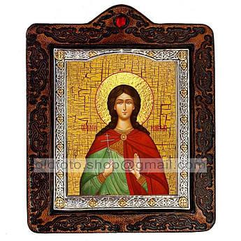 Икона Марина Святая Великомученица  ,икона на коже 80х100 мм