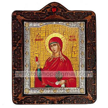 Икона Мария Святая Равноапостольная Магдалина  ,икона на коже 80х100 мм