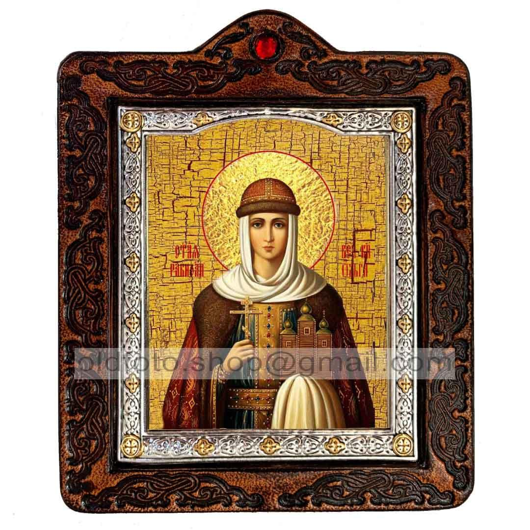 Икона Ольга Святая Княгиня (на коже 80х100мм)