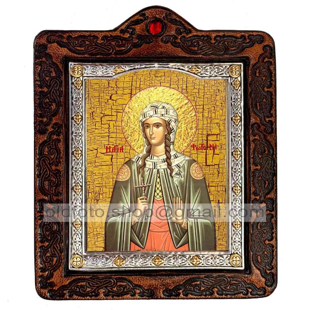 Икона Светлана Святая Мученица (на коже 80х100мм)